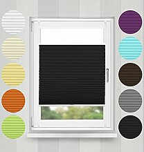 Plisse-rollo Easyfix Montage ohne Bohren (Schwarz, B55cm x H200cm) blickdicht Plissee Jalousie mit Klemmfix | Sonnenschutzrollo Seitenzugrollo Faltrollo Klemmträgern für Fenster / Tür | verspannt Faltstore Rollo