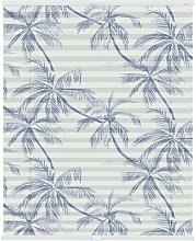 Plissee Blaue Palmen, halbtransparent