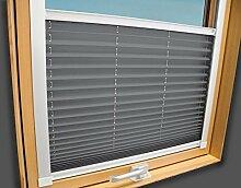 Plissee Faltstore Faltrollo für VELUX Fenster - Profilfarbe Weiß (auch mit silbernen Profilen erhältlich), Stoffgruppe A, Deutsches Markenprodukt, Hellgrau, GGL GPL GGU GPU MK08