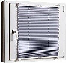 Plissee Klemmfix 55 x 130 Grau cm ohne Bohren mit Klemmträger - inkl. Zubehör Leisten in Weiss - Farbe & Größe wählbar