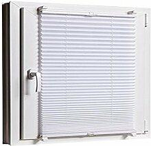 Plissee Klemmfix 80 x 130 Weiss cm ohne Bohren mit Klemmträger - inkl. Zubehör Leisten in Weiss - Farbe & Größe wählbar