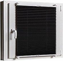 Plissee Klemmfix 85 x 130 Schwarz cm ohne Bohren mit Klemmträger - inkl. Zubehör Leisten in Weiss - Farbe & Größe wählbar