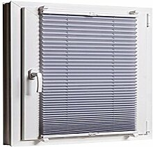 Plissee Klemmfix 90 x 130 Grau cm ohne Bohren mit Klemmträger - inkl. Zubehör Leisten in Weiss - Farbe & Größe wählbar