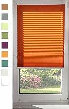 Plissee Klemmfix ohne Bohren für Fenster und Türe 40x120 cm Orange