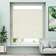 Plissee Klemmfix Rollo ohne Bohren - Beige - 40x130cm (BH) - Jalousie Faltrollo Sichtschutz und Sonnenschutz für Fenstern & Türn