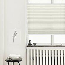 Plissee Klemmfix Verdunkelung Beige Jalousien Innen Ohne Bohren Rollos Für Fenster 100x130cm