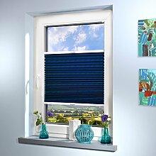 Plissee nach Maß, deutsche Wertarbeit, Design: Crush, alle Größen (Farbe: Blau, Höhe: 121-130cm, Breite: 121-130cm)