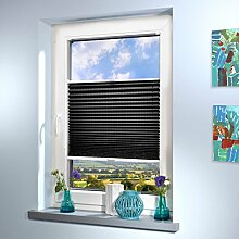 Plissee nach Maß, deutsche Wertarbeit, Design: Stripe, alle Größen (Farbe: Anthrazit, Höhe: 91-100cm, Breite: 121-130cm)