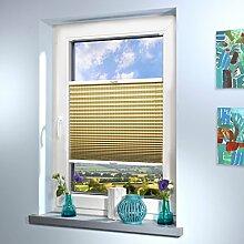 Plissee nach Maß, deutsche Wertarbeit, Design: Stripe, alle Größen (Farbe: Dunkelbeige, Höhe: 201-210cm, Breite: 51-60cm)