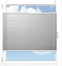 Plissee Rollo / Jalousie | Sichtschutz ohne Bohren, Klemmfix | Faltstore in moderner Crushed Optik | Hellgrau | Größe wählbar (200 cm Länge x 65 cm Breite)
