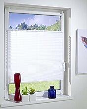 PLISSEE weiß, verspannt, Breite 60x220cm (max. Gesamthöhe Fensterflügel bzw. Terrassentür), mit Klemmträger / Klemmfix / ohne Bohren