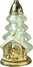 Plomyk H-12X Grablampe Weihnachtskrippe aus Glas Höhe 37,5cm (Weiß)