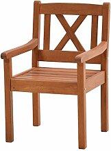 Ploß Landhaussessel Lissabon aus Robinie - Garten-Sessel in Braun - Gartensessel mit Armlehne für Garten & Balkon - Landhaus Massivholzstuhl Sitzbreite 47cm - Terrassen-Stuhl Holz geöl