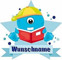 plot4u Baby Monster Wandtattoo Türschild mit Name personalisierbar Kinderzimmer Türaufkleber Baby Wandaufkleber in 9 Größen (40x35cm mehrfarbig)