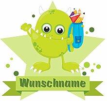 plot4u Grünes Schul-Monster Wandtattoo Türschild mit Name personalisierbar Kinderzimmer Türaufkleber Baby Wandaufkleber in 9 Größen (90x78cm mehrfarbig)