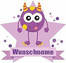 plot4u Lila Monster Wandtattoo Türschild mit Name personalisierbar Kinderzimmer Türaufkleber Baby Wandaufkleber in 9 Größen (90x78cm mehrfarbig)