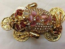 Plüsch Bild groß Drei Sie die Beine Kröte Geld Frosch Schmuckkästchen Schmuck Box mit eingelegten Kristall Symbol der Wohlstand in Feng Shui