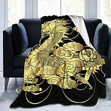 Plüschdecke Schwarz Golden Golden Chinese Dragon