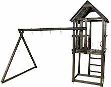 Plus 18527-15 Spielturm mit Satteldach / Doppelschaukel ohne Zubehör, ohne Rutsche farbgrundiert schwarz