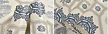 Pmrioe Tapete Für Wände 3D Vintage Blau Und