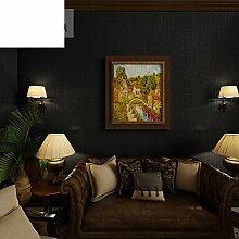 Po-Tapete Plain schwarze Vlies-Tapeten Amerikanische Schlafzimmer Wohnzimmer Tapete TV Wand Restaurant Hintergrundbild-A