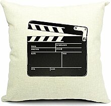 Poens Dream Kissenbezug, Life is Like a Play Printed Cotton Linen Decorative Pillow Cushion Cover, 17.7 x 17.7inches, Film