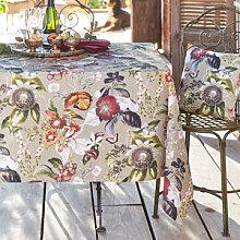 Poetische Tischdecke mit botanischen Bilderwelten