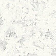 Poetry 7112 Vlies-Tapete Kirschblüten auf Schrift weiß zart-grau