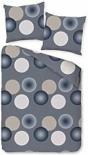 Pötter Mikrofaser Flausch Fleece Bettwäsche 135x200cm Bubbles Grau Blau Creme
