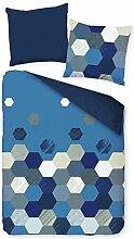 Pötter Mikrofaser Flausch Fleece Bettwäsche Mosaik Blau Weiß Grau, Größe:200x200cm Bettwäsche
