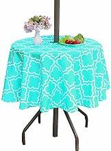 Poise3EHome Runde Tischdecke mit Regenschirm-Loch