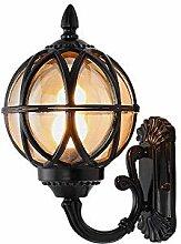 PoJu Außenlampe Vintage Schwarz Rund Wandlampe
