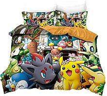 Pokemon Bettwäsche Set, Anime Cartoon Pikachu 3D