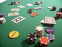 Pokertuch Casino Spieltuch Poker Stoff Pokertisch Auflage Tischtuch Tischdecke (grün, 130x160 cm)