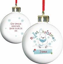 Polar Bär My 1st Chistmas Christbaumkugel Weihnachtskugel Personalisierte Nachricht Weihnachten Geschenkidee personalisierbar