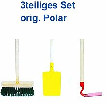Polar Kindergartengeräte Set 3-teilig Spaten Hacke Besen Spielgeräte Sandspielzeug