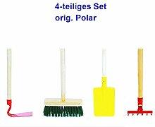 Polar Kindergartengeräte Set 4-teilig Spaten Hacke Besen Rechen Sandspielzeug Spielgeräte