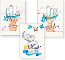 Polarkind 3er Set Kinderzimmer Poster Babyzimmer