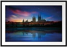 Polarlichter Skyline Köln Bilderrahmen mit