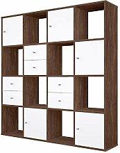 Polini Raumteiler 16 Fächer braun mit weißen