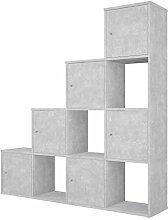 Polini Stufenregal Raumteiler Beton-Grau 10