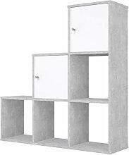 Polini Stufenregal Raumteiler grau 6 Fächer mit 2