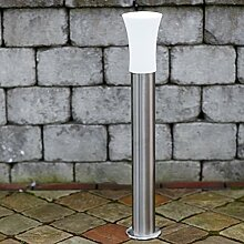 Pollerleuchte Edelstahl & Milchglas 80 cm hoch | E27 + IP44 + robust + winterfest + dimmbar | Wegeleuchte | Außenleuchte | Gartenbeleuchtung | Standleuchte | Gartenlampe | Außenlampe | Wegelampe