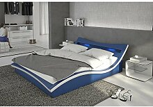 Polster-Bett 140x200 cm blau aus Kunstleder mit blauer LED-Beleuchtung | Magari | Das Kunst-Leder-Bett ist ein edles Designer-Bett | Doppel-Bett 140 cm x 200 cm mit Lattenrost in Leder-Optik, Made in EU