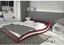 Polster-Bett 140x200 cm bordeaux-weiß aus Kunstleder mit blauer LED-Beleuchtung | Accentox | Das Kunst-Leder-Bett ist ein edles Designer-Bett | Doppel-Bett 140 cm x 200 cm mit Lattenrost in Leder-Optik, Made in EU