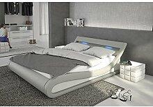 Polster-Bett 140x200 cm grau aus Kunstleder mit blauer LED-Beleuchtung | Bellugia | Das Kunst-Leder-Bett ist ein edles Designer-Bett | Doppel-Bett 140 cm x 200 cm mit Lattenrost in Leder-Optik