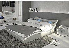 Polster-Bett 140x200 cm grau aus Kunstleder mit blauer LED-Beleuchtung | Magari | Das Kunst-Leder-Bett ist ein edles Designer-Bett | Doppel-Bett 140 cm x 200 cm mit Lattenrost in Leder-Optik, Made in EU