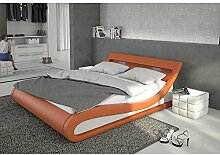 Polster-Bett 140x200 cm orange aus Kunstleder mit blauer LED-Beleuchtung | Bellugia | Das Kunst-Leder-Bett ist ein edles Designer-Bett | Doppel-Bett 140 cm x 200 cm mit Lattenrost in Leder-Optik, Made in EU