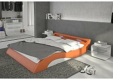 Polster-Bett 140x200 cm orange-weiß aus Kunstleder mit blauer LED-Beleuchtung | Mavani | Das Kunst-Leder-Bett ist ein edles Designer-Bett | Doppel-Bett 140 cm x 200 cm mit Lattenrost in Leder-Optik, Made in EU