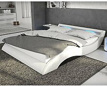Polster-Bett 140x200 cm weiß-schwarz aus Kunstleder mit blauer LED-Beleuchtung | Mavani | Das Kunst-Leder-Bett ist ein edles Designer-Bett | Doppel-Bett 140 cm x 200 cm mit Lattenrost in Leder-Optik, Made in EU